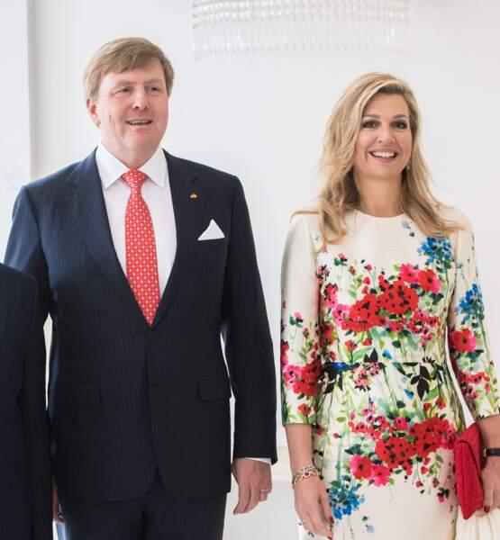 Willem-Alexander et Maxima au palais Noordeinde à La Haye le 24 avril 2018
