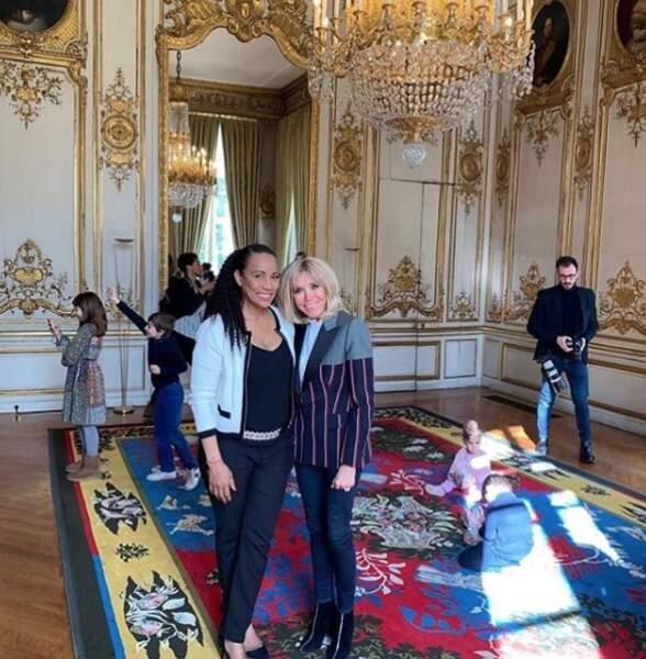 Brigitte Macron avec Christine Kelly, au palais de l'Elysée, ce mercredi 3 avril 2018