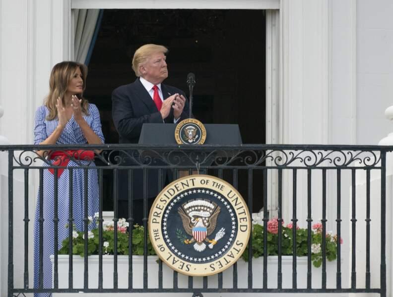 Donald et Melania Trump, sur le balcon de la Maison Blanche le 4 juillet 2018