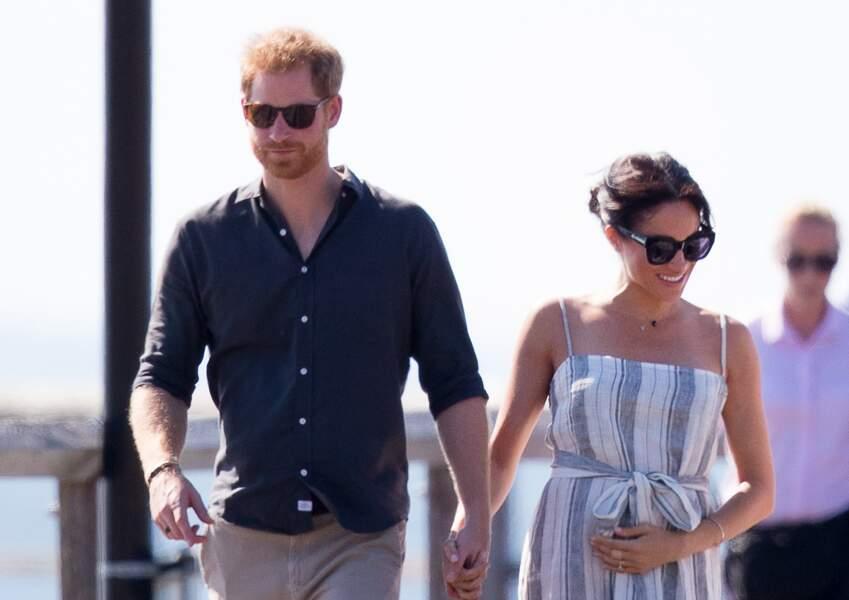 Le prince Harry et Meghan Markle sur l''île Fraser, en Australie, le 22 octobre 2018