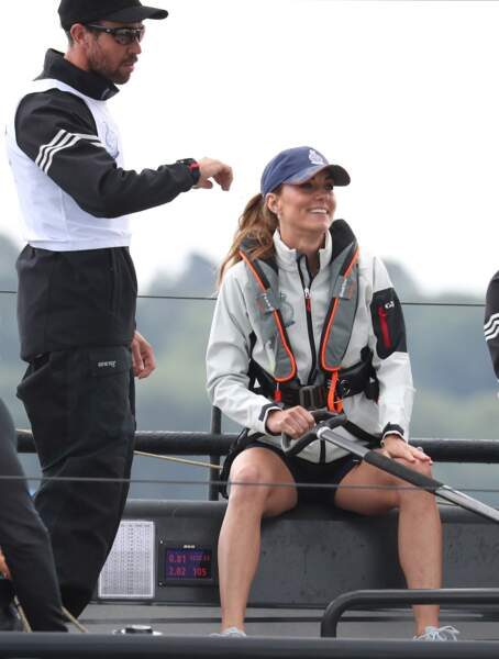 Kate Middleton, radieuse, lors de la régate King's Cup de ce 8 août