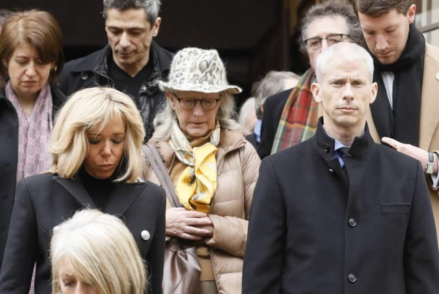 La Première Dame Brigitte Macron et Franck Riester, ministre de la Culture lors des obsèques de Michel Legrand