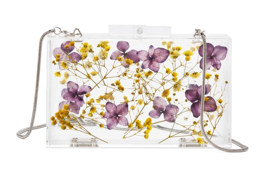 Fleuri, clutch en plexi à fleurs incrustées Mango, 49,99 € (shop.mango.com)