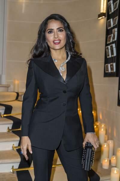 Salma Hayek-Pinault (52 ans) lors de la soirée Boucheron place Vendôme à Paris, en janvier 2019