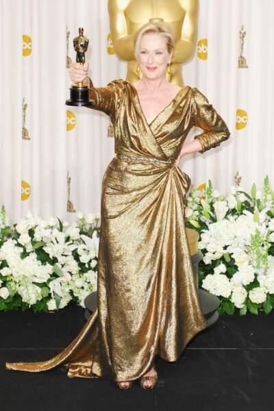 Meryl Streep, drapée en lamée Lanvin, en 2012