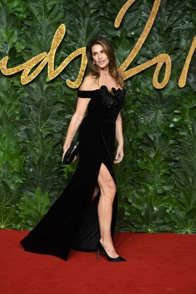 Cindy Crawford (53 ans), à la soirée des British Fashion Awards à Londres, en 2018