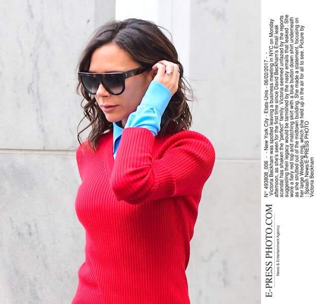 Victoria Beckham toute en couleurs à New York
