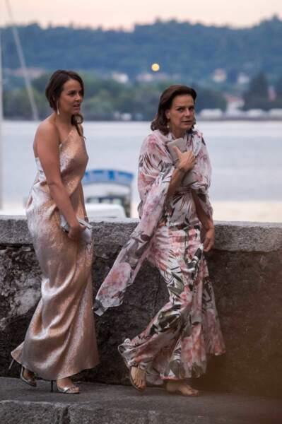 Stéphanie de Monaco etPauline Ducruet  au mariage de Pierre Casiraghi et Beatrice Borromeo, en 2015