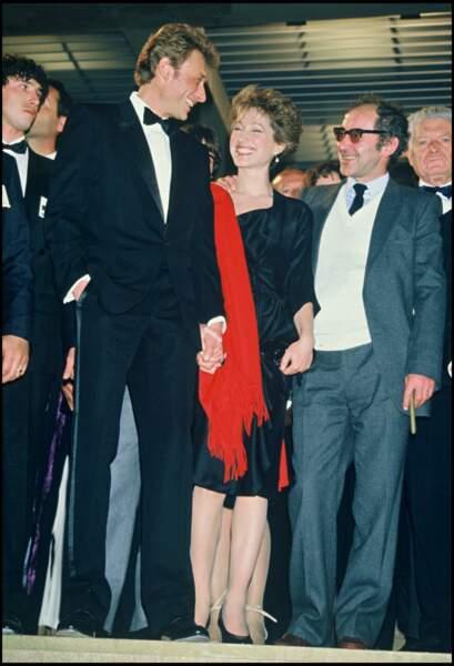 Johnny Hallyday, Nathalie Baye et Jean-Luc Godard à Cannes en 1985