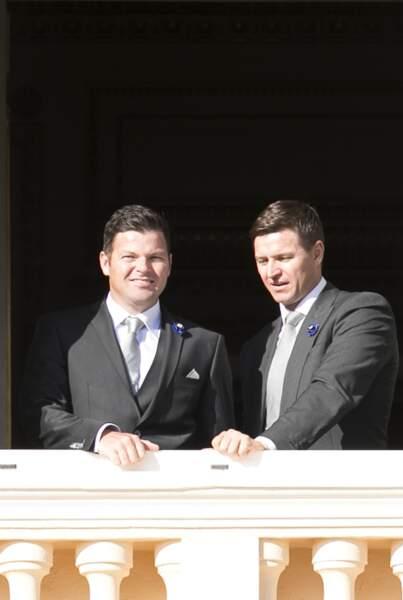 Les frères de Charlène, Sean et Gareth Wittstock, au balcon du palais monégasque, le 19 novembre 2018