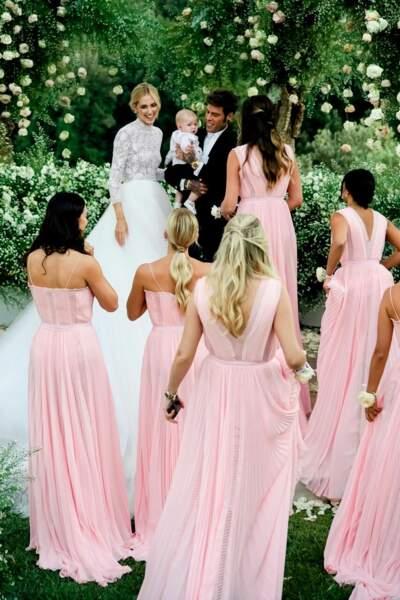 Chiara Ferragni en robe Dior, Fedez en Versace et Leone en baby Dior