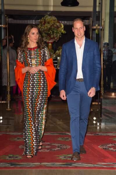 Le duc et la duchesse de Cambridge quittent leur hôtel de Thimphu pour rejoindre le roi et la reine lors d'un dîner