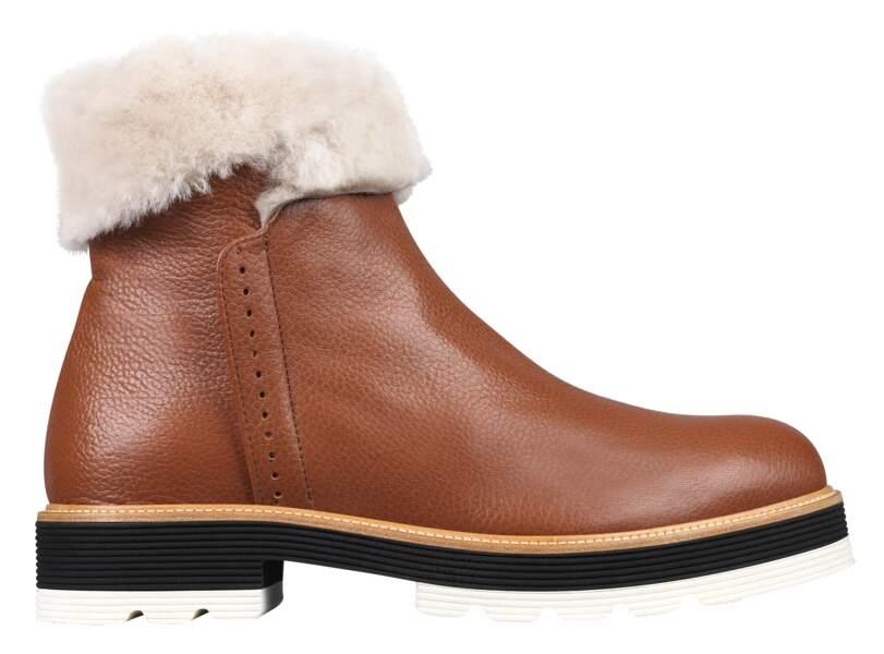 Boots en cuir doublées 169 € (Minelli).
