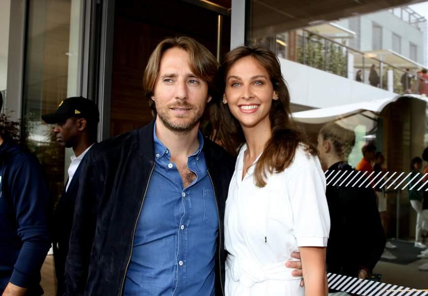 Ophélie Meunier et son mari Mathieu Vergne au village de Roland Garros le 1er juin 2018
