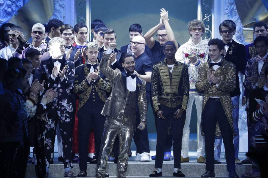Ross Lynch, Cameron Dallas, le chanteur Maluma, Christian Combs et Austin Mahone chez Dolce & Gabbana