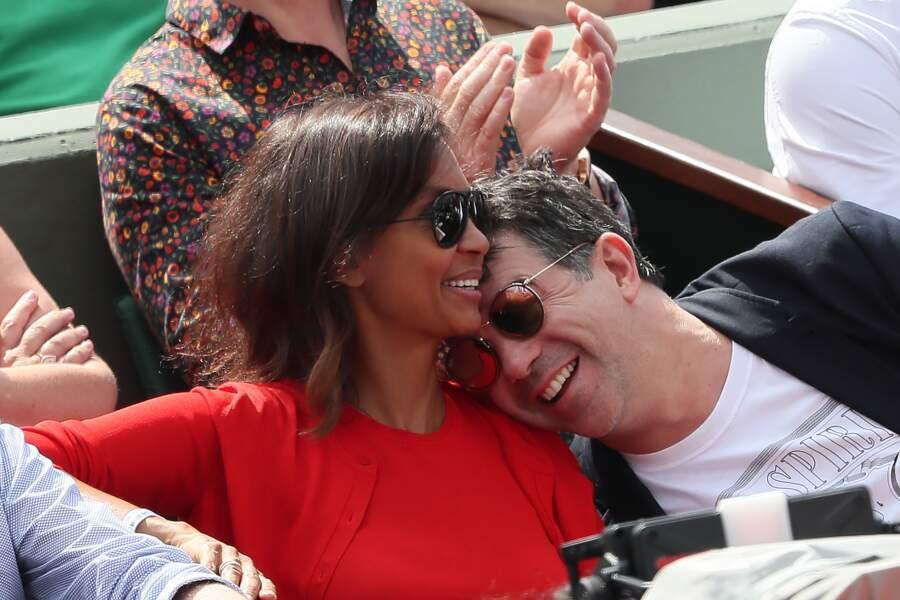 Stéphane Plaza et Karine Le Marchand à Roland Garros le 4 juin 2018