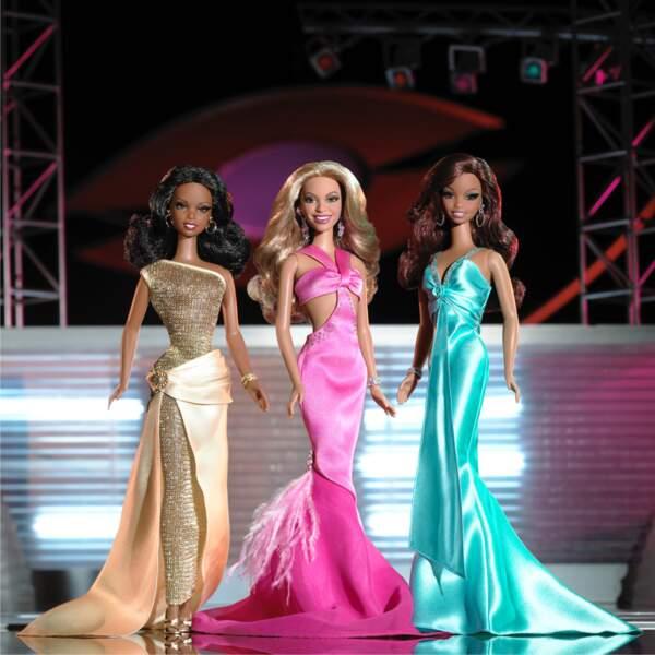 Les poupées Barbie du trio R&B Destiny's Child (Kelly Rowland, Beyoncé et Michelle Williams)