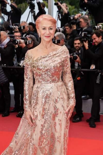 Helen Mirren et sa coloration rose, le 18 mai 2019 à Cannes