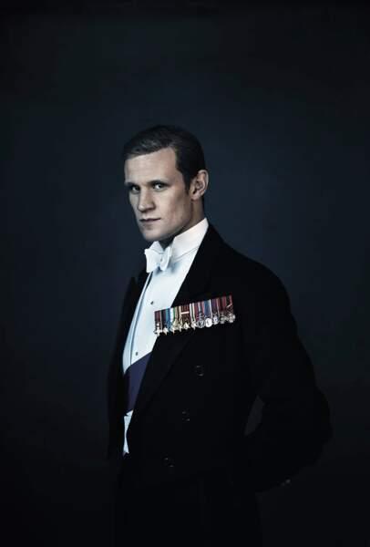 """Matt Smith dans le rôle du prince Philip, duc d'Edimbourg, dans la série """"The Crown"""" (Netflix)"""