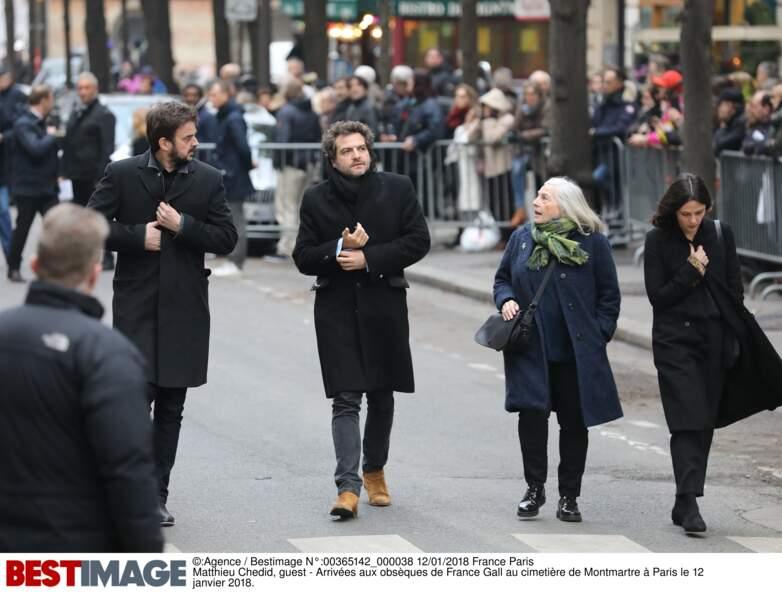 Matthieu Chedid aux obsèques de France Gall au cimetière de Montmartre à Paris le 12 janvier 2018
