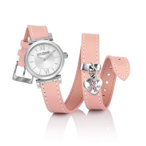 Montre Opéra Ruban Rose, 275 € dont 50 € reversés contre le cancer du sein par montre