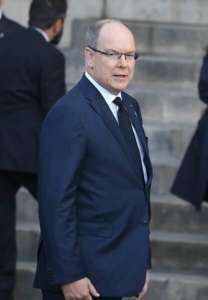 Albert II de Monaco aux obsèques de Jacques Chirac, en l'église Saint-Sulpice, à Paris, le 30 septembre 2019.