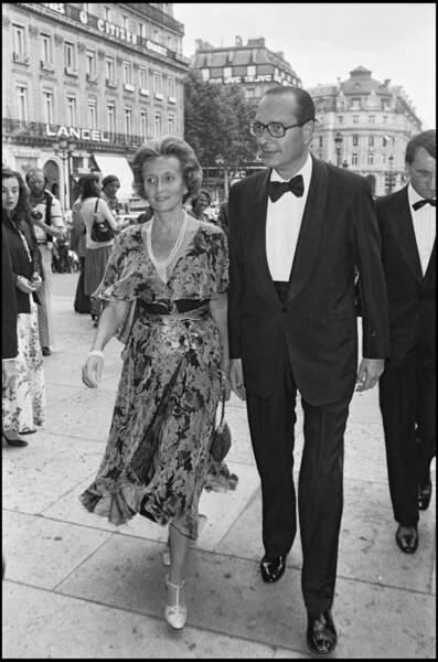 Bernadette et Jacques Chirac lors d'un gala de bienfaisance au profit de la fondation Pompidou, en 1980