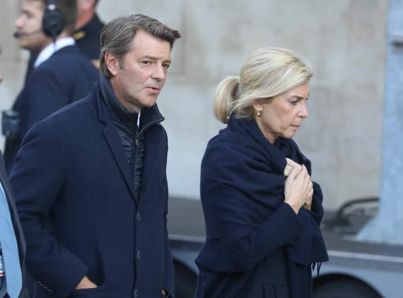 François Baroin et Michèle Laroque, obsèques de Jacques Chirac en l'église Saint-Sulpice, à Paris, le 30.09.2019