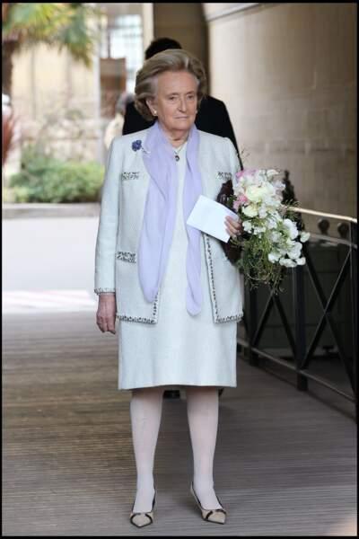 Bernadette Chirac au mariage de sa fille Claude à la mairie du VIe arrondissement de Paris, le 11 février 2011