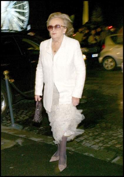 Bernadette Chirac lors de son arrivée au bal des débutantes à l'Hôtel Crillon, en 2009