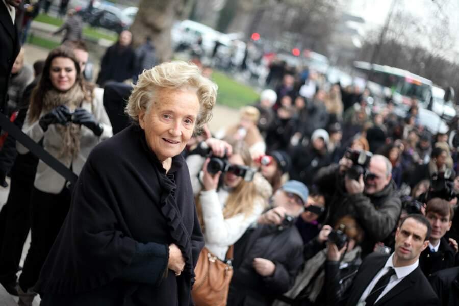 Bernadette Chirac, souriante lors du défilé Chanel haute couture à Paris, en 2012