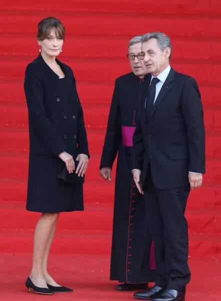 Carla Bruni et Nicolas Sarkozy aux obsèques de Jacques Chirac, en l'église Saint-Sulpice, à Paris, le 30.09.2019