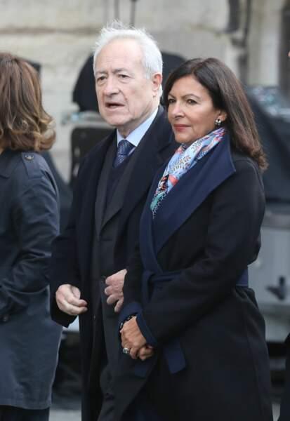 Anne Hidalgo et Jean Tiberi aux obsèques de Jacques Chirac, en l'église Saint-Sulpice, à Paris, le 30.09.2019