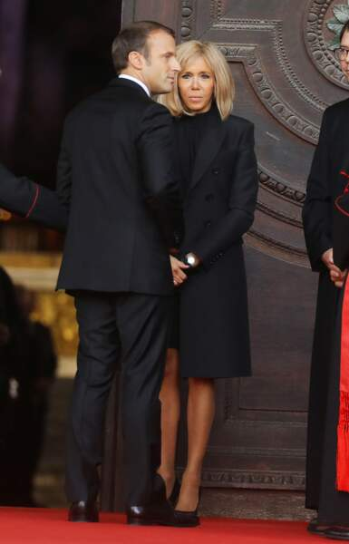 Emmanuel et Brigitte Macron aux obsèques de Jacques Chirac, en l'église Saint-Sulpice, à Paris, le 30.09.2019