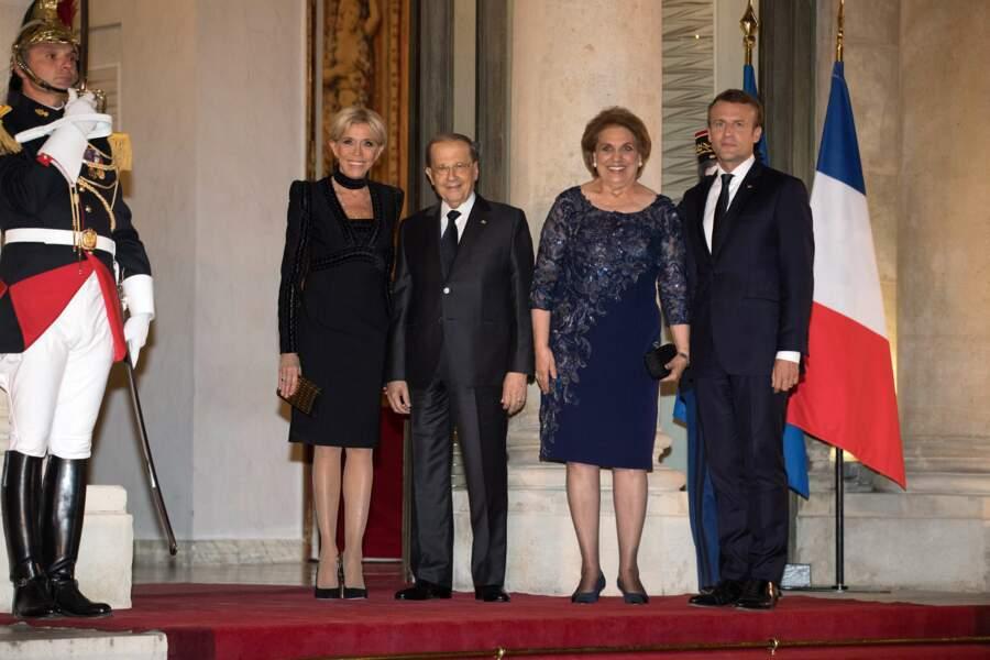 Le couple Macron a accueilli le président de la république libanaise, le général Michel Aoun.