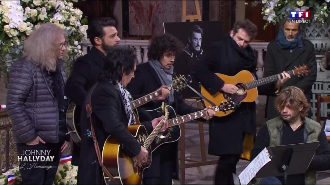 Cérémonie hommage à Johnny Hallyday : Maxim Nucci et Mathieu Chedid
