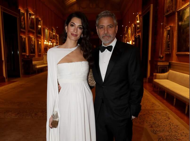 George Clooney et sa femme Amal Clooney radieux pour le dîner donné par le prince Charles à Buckingham Palace