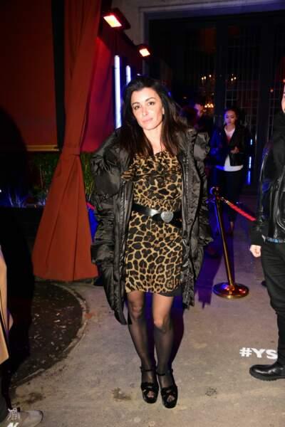 Jenifer Bartoli en robe léopard lors de la soirée Ysl beauty club le 5 février 2019