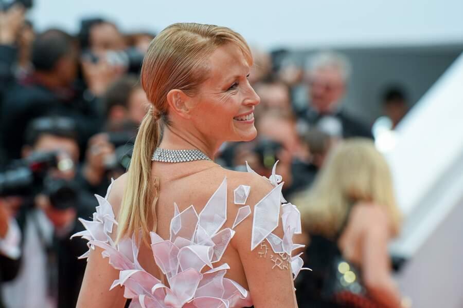 La queue de cheval ultra lisse d'Estelle Lefébure, signée Franck Provost, le 14 mai 2019 à Cannes