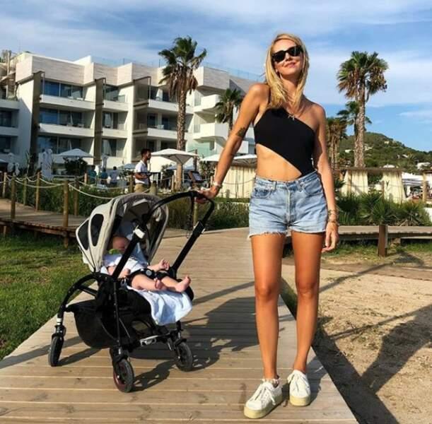Chiara ferragni avec son fils Leone et dejà un ventre plat