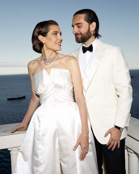 Charlotte Casiraghi en robe Chanel et collier Cartier pour son mariage avec Dimitri Rassam le 1er juin 2019