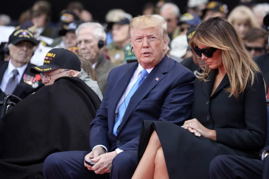 Melania Trump et son mari le 6 juin 2019 dans le cadre du 75ème anniversaire du débarquement.