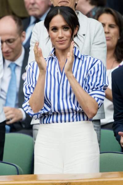 Meghan Markle est une fan de la Ralph Lauren, et en porte à merveille comme ici au tournoi de Wimbledon.