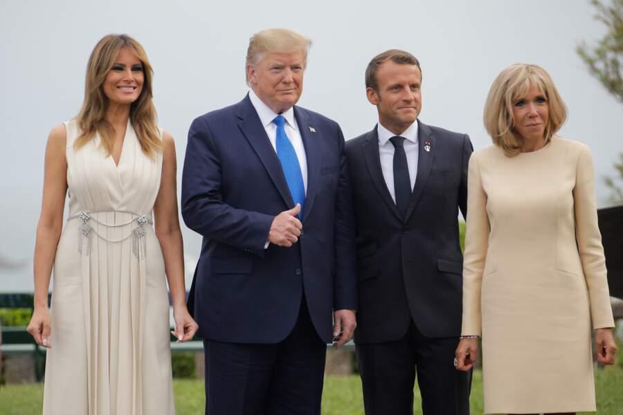Brigitte et Emmanuel Macron accueillent le couple Trump