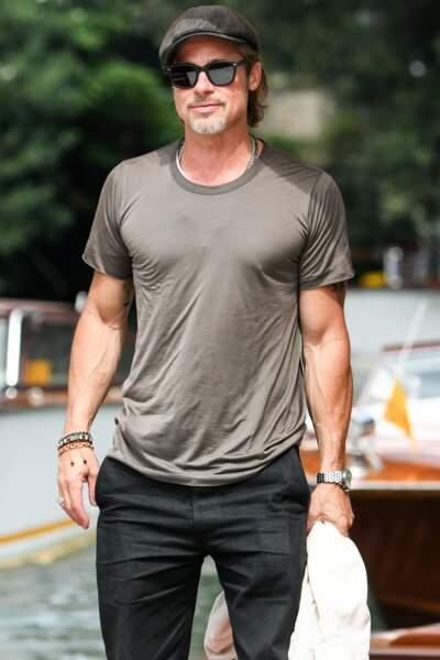Brad Pitt arrive au Lido à l'occasion de la 76ème édition de la Mostra de Venise, le 28 août 2019.