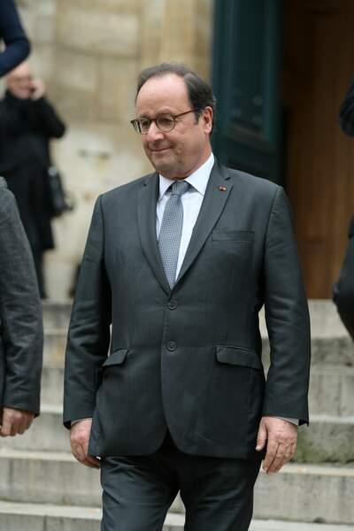 François Hollande, ému aux obsèques de Jean-Michel Martial ce mercredi 23 octobre à l'Eglise Saint-Roch à Paris