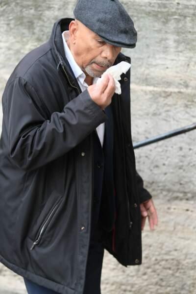 L'acteur Greg Germain très ému lors des obsèques de Jean-Michel Martial ce 23 octobre
