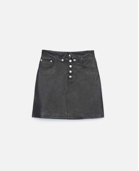 Jupe cuir noir revers boutons, The Kooples, 318 €