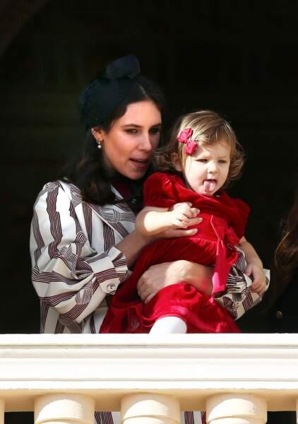 Tatiana Santo Domingo et sa fille India Casiraghi (fille de Andrea Casiraghi), au balcon lors de la fête nationale, le 19 novembre 2016.