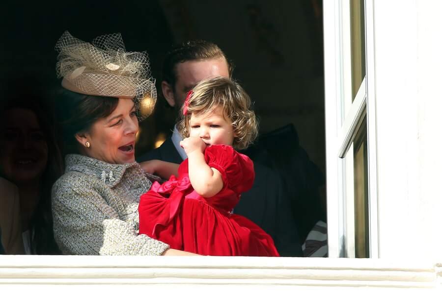 La princesse Caroline de Hanovre et sa petite-fille India Casiraghi, au balcon du palais princier à l'occasion de la fête nationale, le 19 novembre 2016.